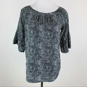 Club Monaco Black Printed Pleated Sleeve Silk Top
